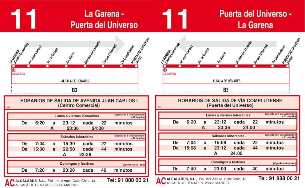 Autobuses alcal l nea 11 la garena puerta universo alcalanow - Pisos en la garena alcala de henares ...