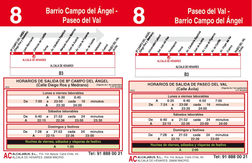 Autobuses alcal l nea 8 campo del angel paseo del val for Autobuses alcala de henares