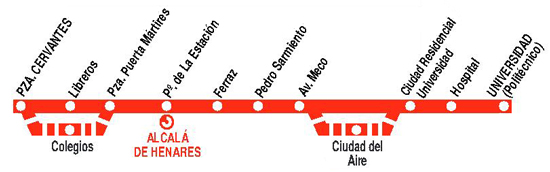 Buses Alcala line 2: Plaza de Cervantes-Hospital/University
