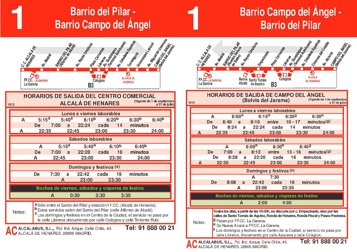 Autobuses alcal l nea 1 barrio del pilar campo del angel for Autobuses alcala de henares